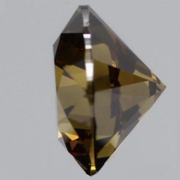 Коньячный бриллиант круглый фото сбоку