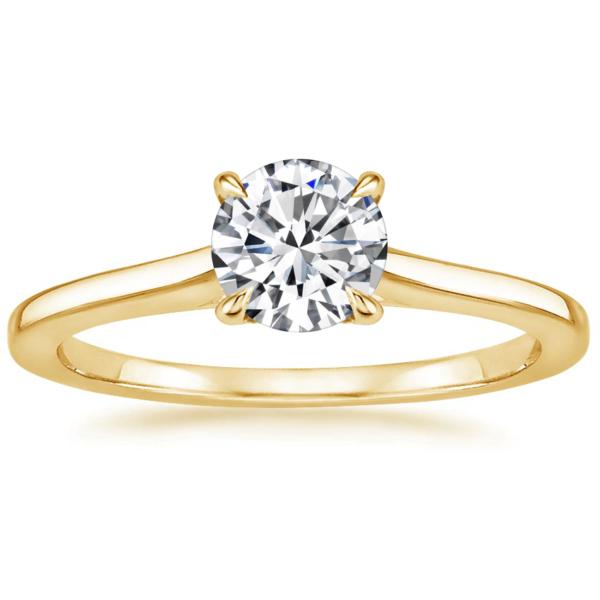 Помолвочное кольцо с бриллиантом желтое золото