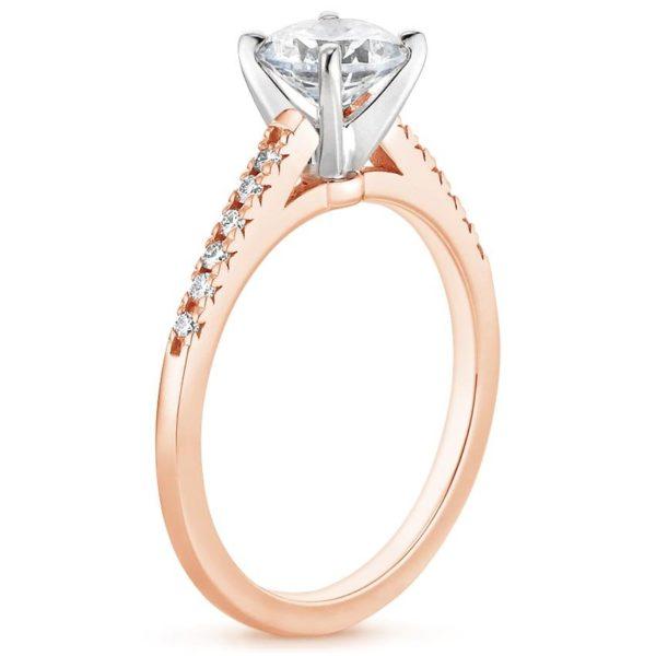 Кольцо с бриллиантом розовое золото фото 1