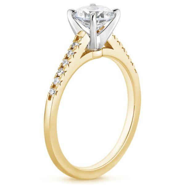 Кольцо с бриллиантом желтое золото фото 1