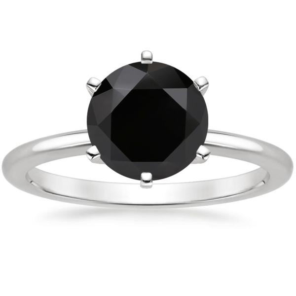 Помолвочное кольцо с черным бриллиантом 1 карат фото