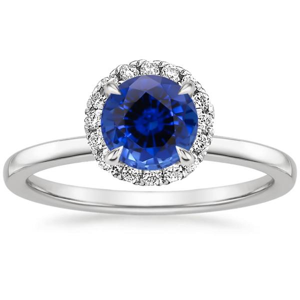 Кольцо с сапфиром и бриллиантами хало фото