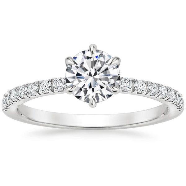 Кольцо с бриллиантом в 6 лапках фото