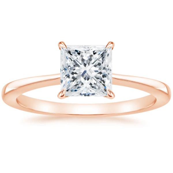 Кольцо с бриллиантом принцесса розовое золото фото