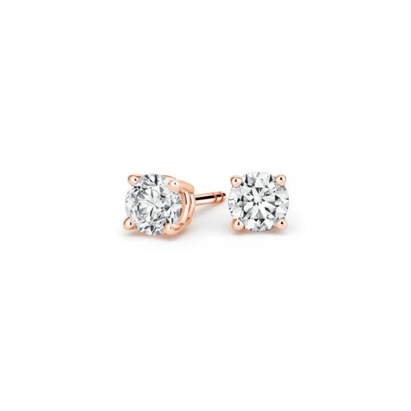 Пусеты с бриллиантами розовое золото