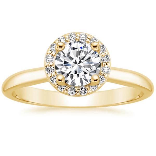 Кольцо с бриллиантом желтое золото хало классик фото