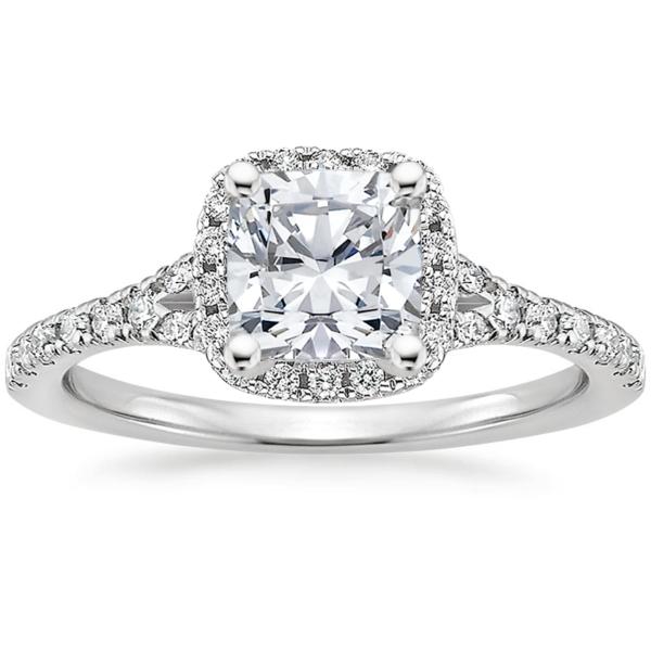 Кольцо белое золото бриллиант кушон фото