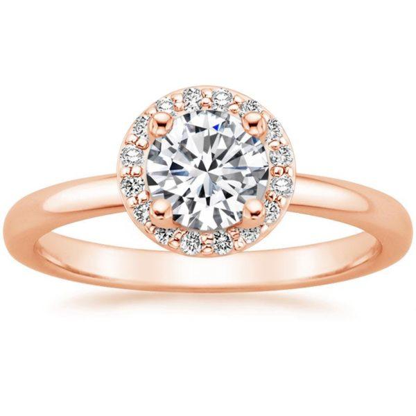 Кольцо из розового золота хало фото