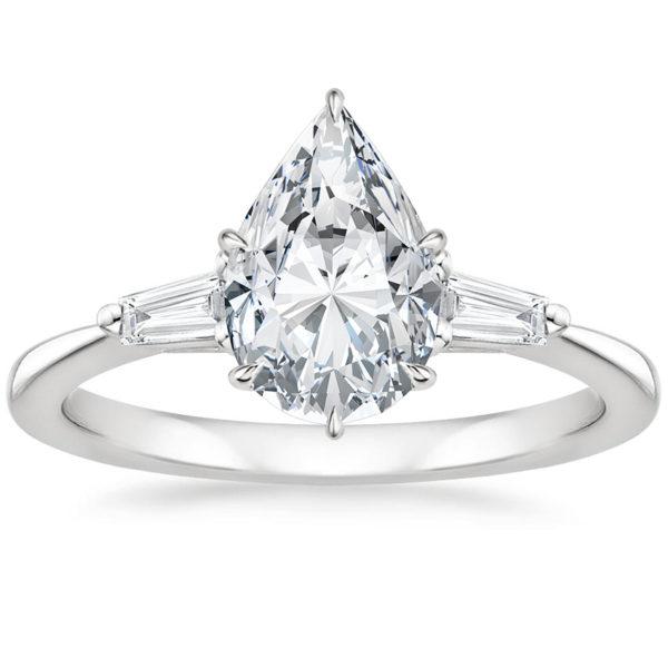 Кольцо белое золото бриллиант груша фото